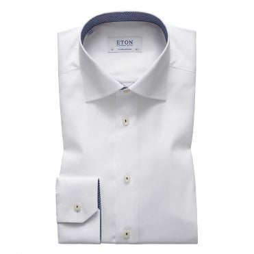 Contemporary Fit White Eton Shirt With 'Micro Panda' Trim