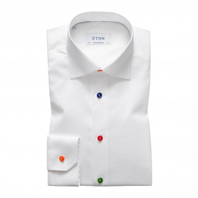 Eton Shirts Contemporary Fit White Eton Shirt with Multicoloured Buttons