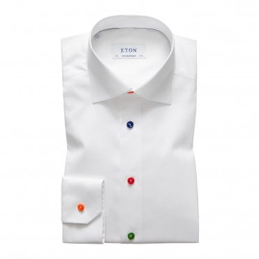 Contemporary Fit White Eton Shirt with Multicoloured Buttons