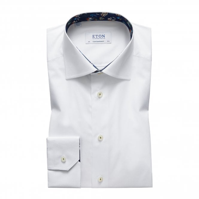 Eton Shirts Contemporary Fit White Eton Shirt With 'Navy Floral' Trim