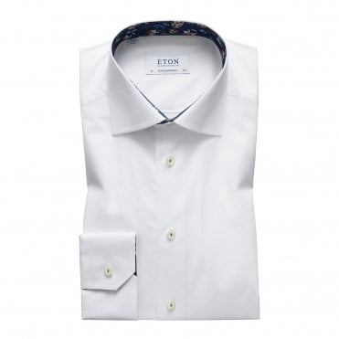 Contemporary Fit White Eton Shirt With 'Navy Floral' Trim