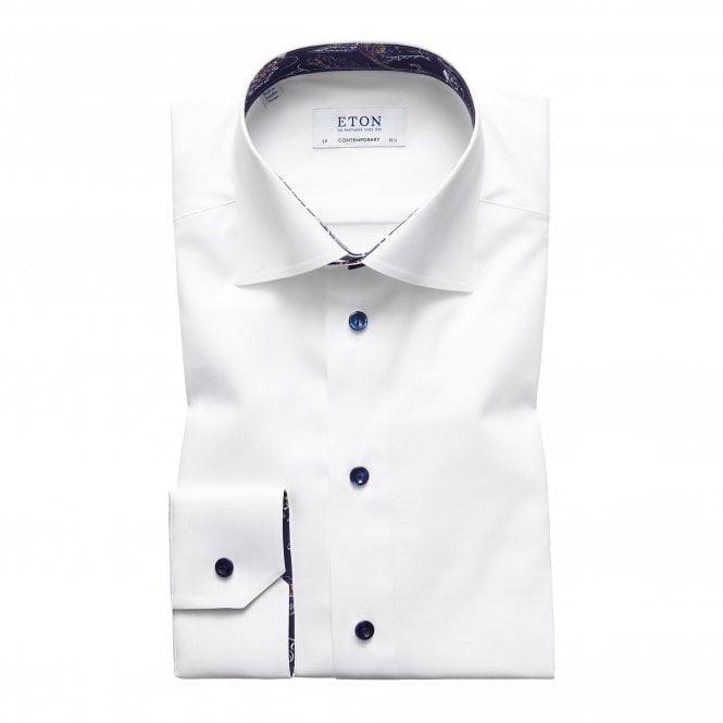 Eton Shirts Contemporary Fit White Eton Shirt With 'Paisley' Trim