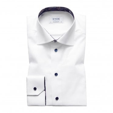 Contemporary Fit White Eton Shirt With 'Paisley' Trim