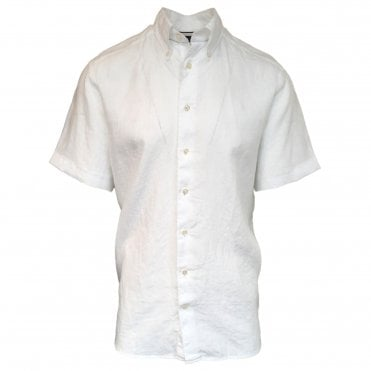 Contemporary Fit White Linen Eton Shirt
