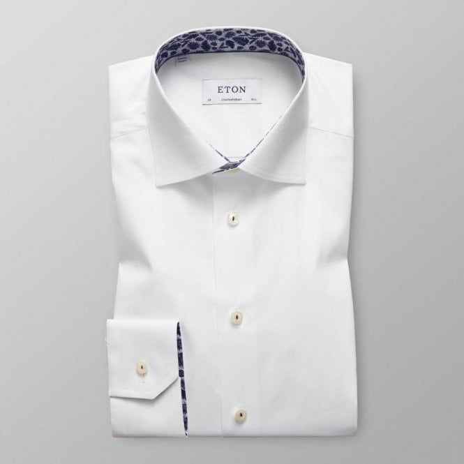 Eton Shirts Contemporary Fit White Shirt With Navy Feather Trim 25670047100