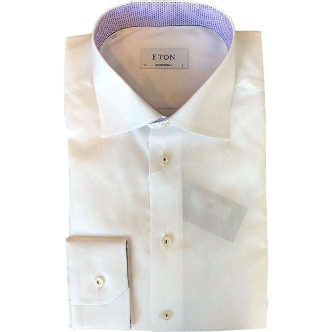 Eton Shirts Contemporary Fit White Shirt With Purple Contrast Trim 30000045300