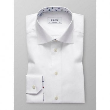 Eton Shirts Contemporary Fit White Shirt With 'Sail Boat' Trim 30100031100