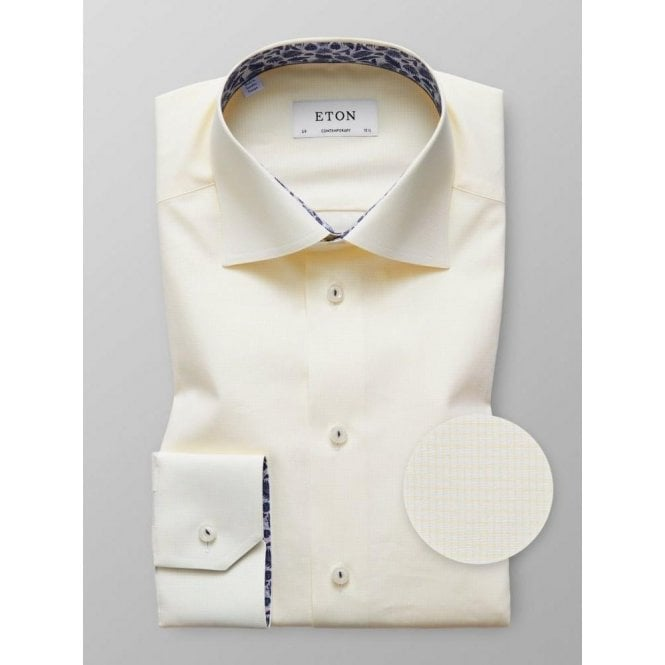 Eton Shirts Contemporary Fit Yellow Geometric Pattern Shirt With Feather Trim 27167943641