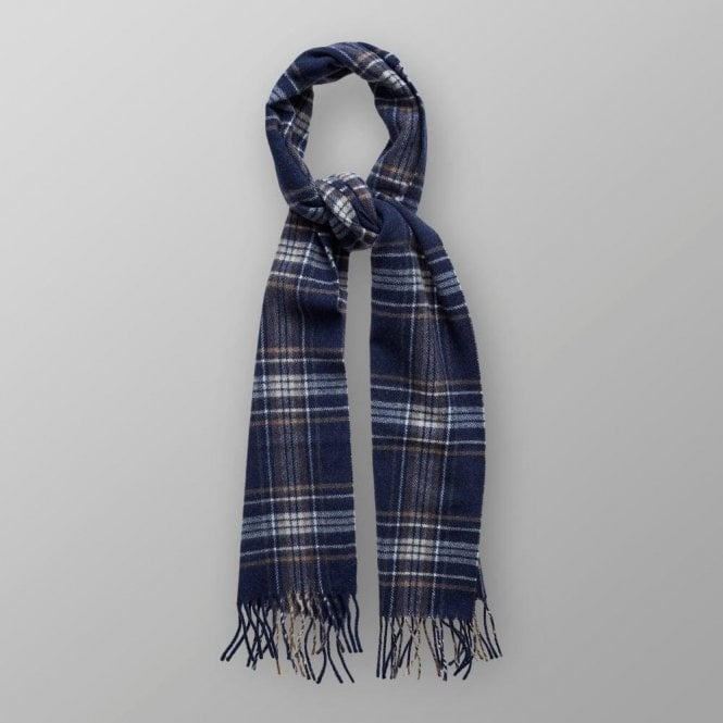 Eton Shirts Dark Blue Tartan Wool Scarf A000301342900