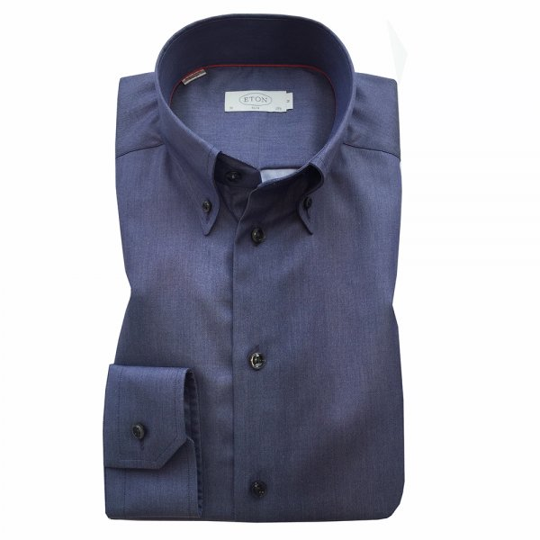 Eton blue grey button down collar shirt in slim fit for Grey button down shirt
