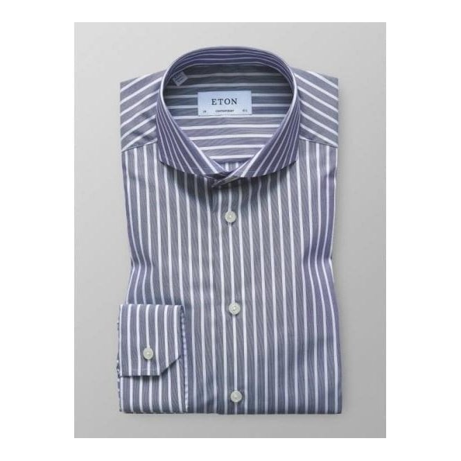 Eton Shirts Eton Blue Striped Long-Sleeve Single Cuff CONTEMPORARY FIT Shirt 2627 73311 27