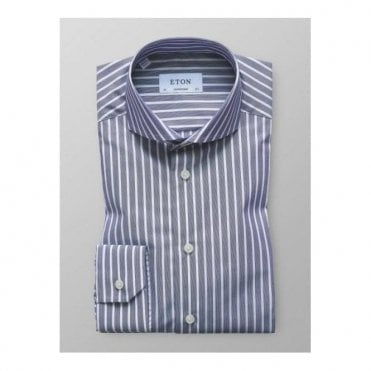 Eton Blue Striped Long-Sleeve Single Cuff CONTEMPORARY FIT Shirt 2627 73311 27