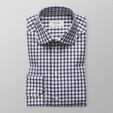 Eton CONTEMPORARY FIT Dark Blue Check Long-Sleeve Single Cuff Shirt 3256 79311 27