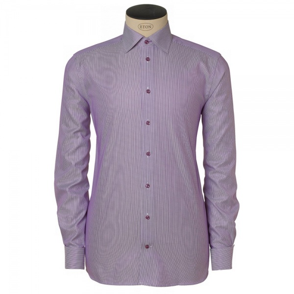 eton contemporary fit double cuff striped shirt in purple