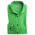 Eton Shirts Eton CONTEMPORARY FIT Single Cuff Houndstooth Shirt in Green with Navy Buttons.