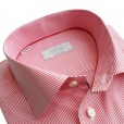 Eton Shirts Eton CONTEMPORARY FIT Single Cuff Striped Shirt in Red with Floral Detail.