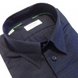 Eton Shirts Eton 'Green Ribbon' SLIM FIT Single Cuff Check Shirt in Navy.