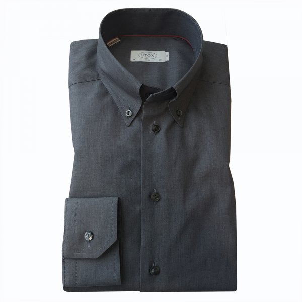 eton grey black button down collar shirt in slim fit