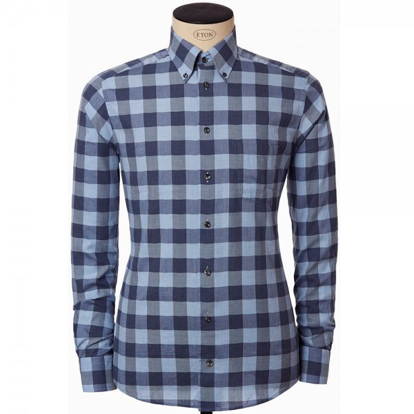 Eton slim fit bold check flannel shirt in blue 0373 35369 27 for Trim fit flannel shirts