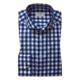 Eton Shirts Eton SLIM FIT Single Cuff Bold Check Print Shirt in Navy.