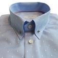 Eton Shirts Eton SLIM FIT Single Cuff Pin Collar Spotted Shirt in Sky Blue.