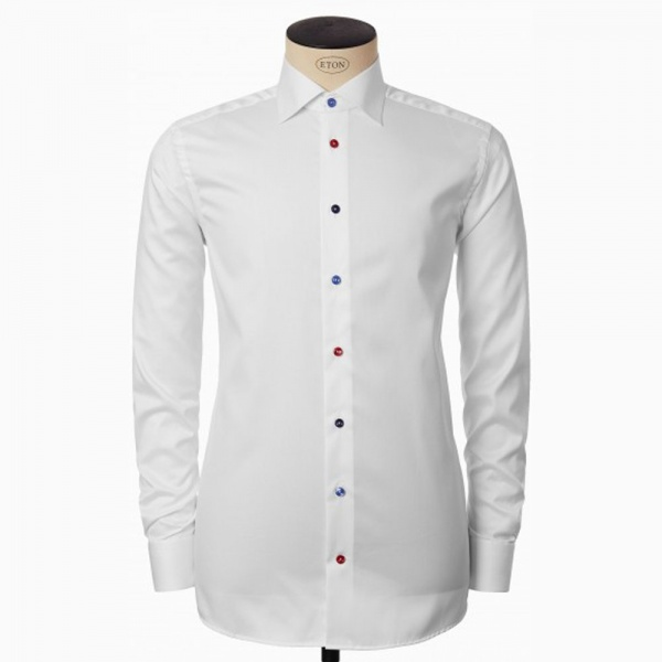 Eton White Shirt with Multicoloured Buttons in Contemporary Fit