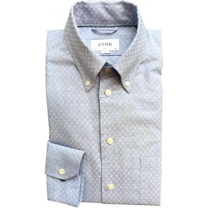 Eton Shirts Light Blue Faded Circular Print Shirt With Button Down Collar 01145356923