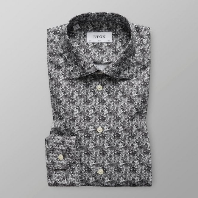 Eton Shirts Slim Fit Black and White Tiger Print Shirt 2664 79511 19