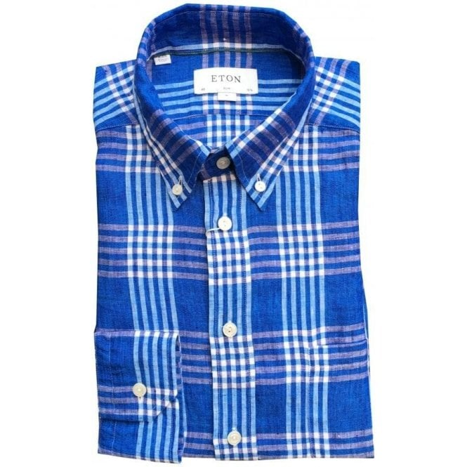 Eton Shirts Slim Fit Blue Check Pattern Linen Shirt 02015358125