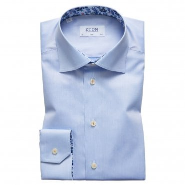 Slim Fit Blue Eton Shirt With 'Floral' Trim