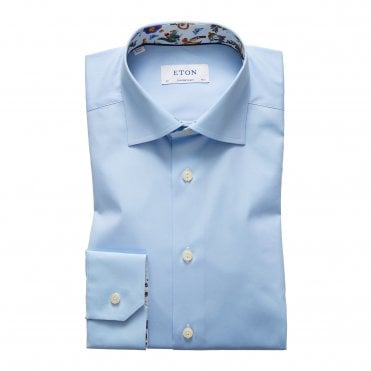 Slim Fit Blue Eton Shirt with Floral Trim