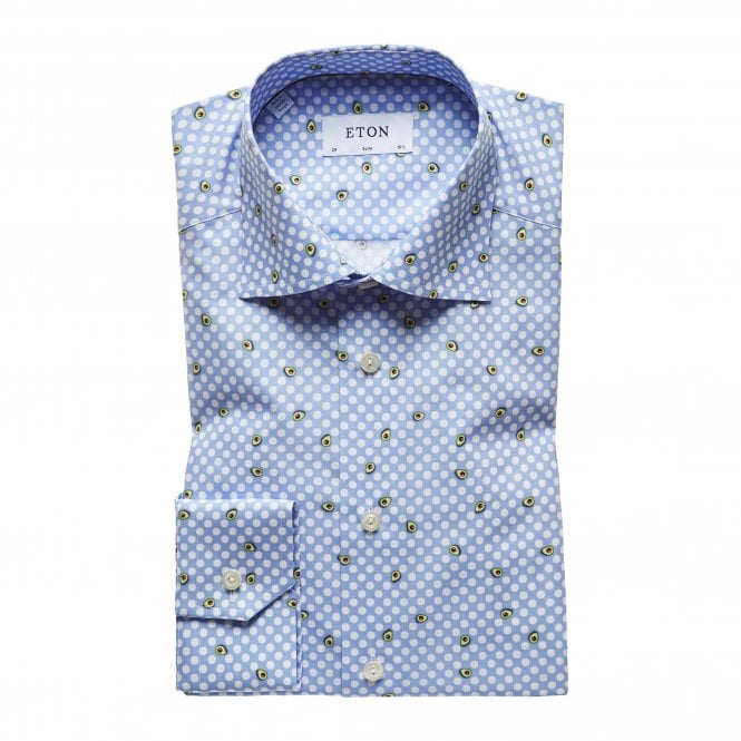 Eton Shirts Slim Fit Blue Eton Shirt with White Polka Dots and Avocados