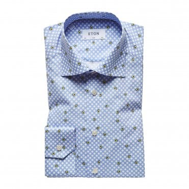 Slim Fit Blue Eton Shirt with White Polka Dots and Avocados