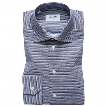Slim Fit Blue Micro Panda Print Eton Shirt