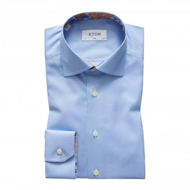 Eton Shirts Slim Fit Blue Shirt with Flower Trim