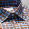 Eton Shirts Slim Fit Blue Shirt With Large Brown Spots 33297951123