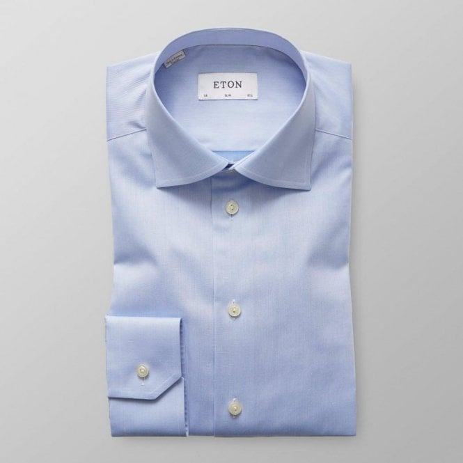 Eton Shirts Slim Fit Blue Signature Twill Cotton Shirt 30007951121