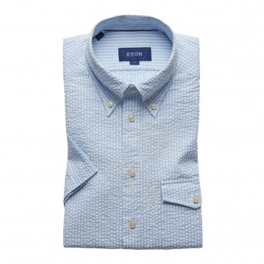 Slim Fit Blue Stripe Seersucker Eton Shirt