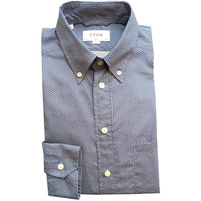 Eton Shirts Slim Fit Dark Blue Spotty Shirt With Button Down Collar 01935360629