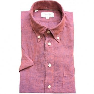 Eton Shirts Slim Fit Faded Pink Short-Sleeve Linen Shirt 02525358256