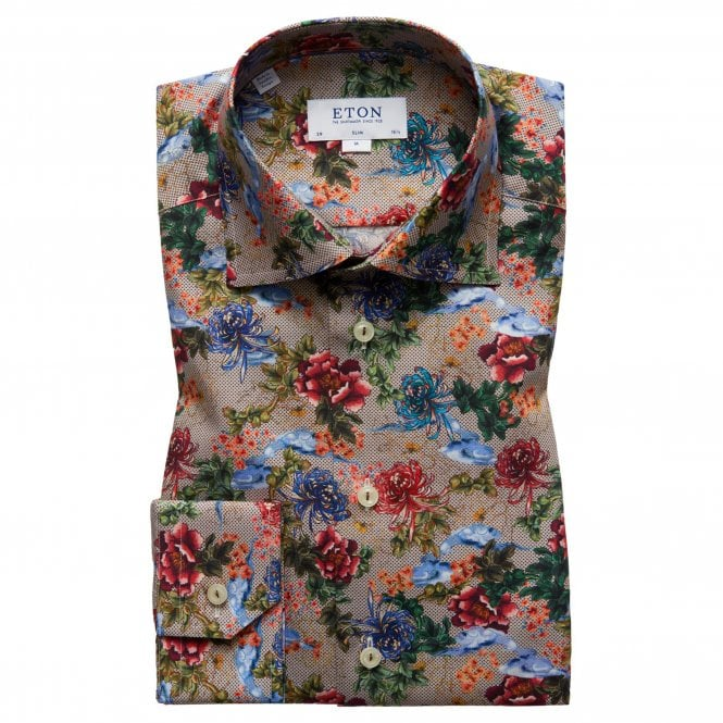 Eton Shirts Slim Fit Floral Print Eton Shirt