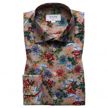 Slim Fit Floral Print Eton Shirt