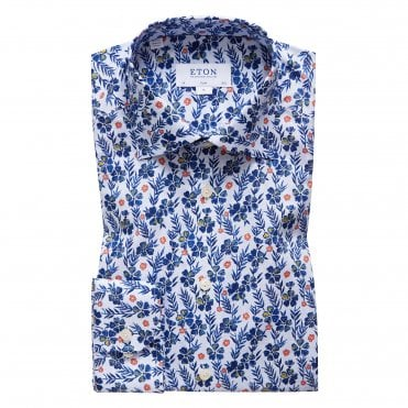 Slim Fit Flower Print Eton Shirt