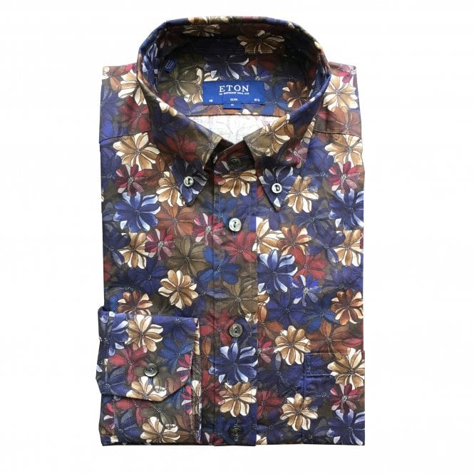 Eton Shirts Slim Fit Flower Print Eton Shirt
