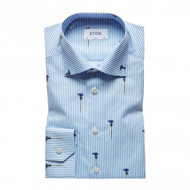 Eton Shirts Slim Fit Flower Stripe Eton Shirt