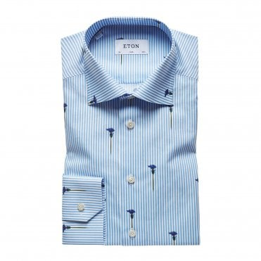 Slim Fit Flower Stripe Eton Shirt