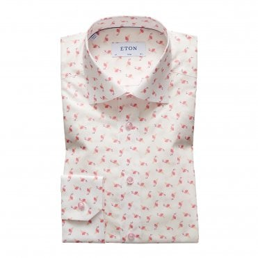 Slim Fit Ice Cream Flamingo Print Eton Shirt