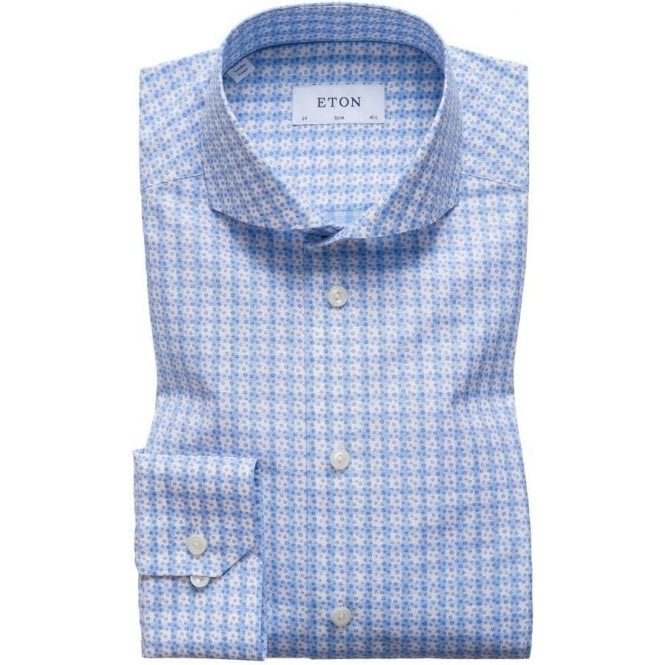 Eton Shirts Slim Fit Light Blue Check Patterned Shirt 2051 73511 23