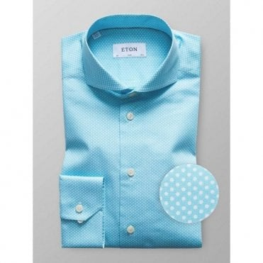 Eton Shirts SLIM FIT Long-Sleeve Aqua Blue Spotted Shirt 3278 73511 23