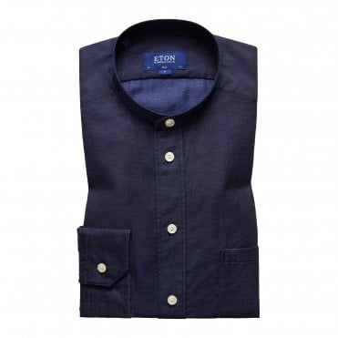 Slim Fit Navy Band Collar Eton Green Shirt